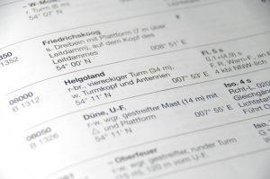Leuchtturm Helgoland im Leuchtfeuerverzeichnis (Teil des Begleithefts)