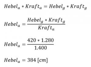 Formel bei 120kg Stützlast