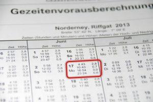 Nachmittagshochwasser in Norderney am 17. Juni 2013 war um 16:54h MEZ, also 17:54h Sommerzeit/Bordzeit
