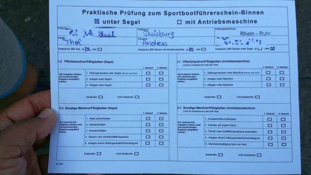 Laufzettel zur SBF Binnen-Prüfung