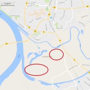 Wesel in Google Maps: gleiche Stelle, weniger Wasser
